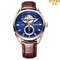 Marca de fábrica de EYKI Tourbillon Reloj Mecánico Impermeable de Los Hombres de Cuero Genuino Relojes Pequeños Segundos de Distancia Hollow Reloj Montre Homme