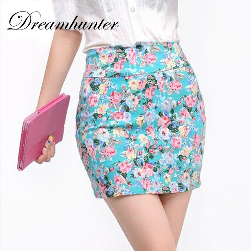 Floral Printed Women Skirt Summer Girl Sexy High Waist Mini Skirts White Black Green Printing Short Skirts Office Lady Clothing