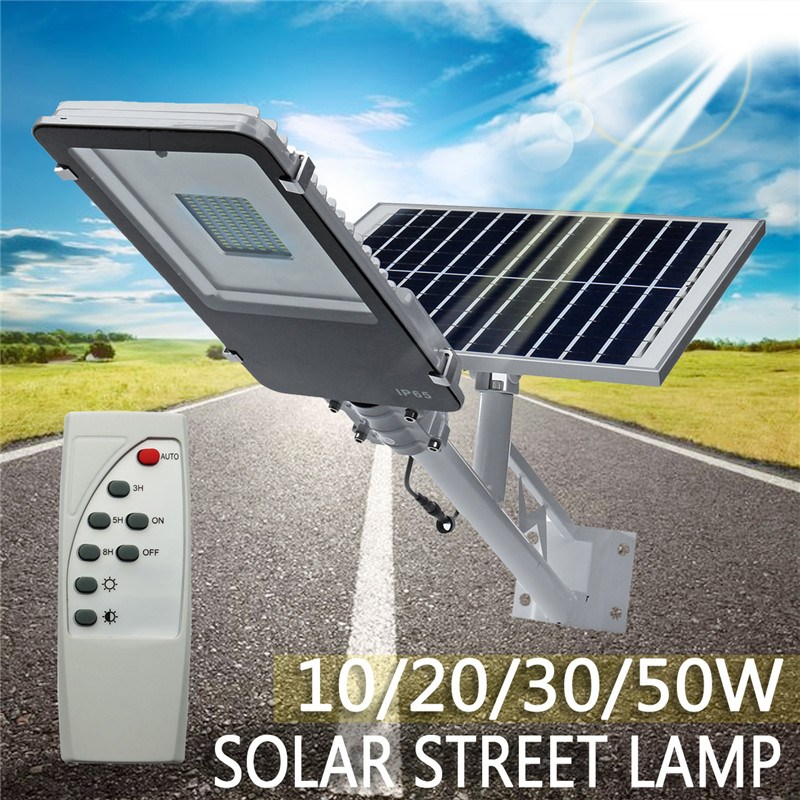 Mising 10/20/30/50W Outdoor Waterproof LED Solar Powered Wall Street Path Light Flood Lamp For Garden Yard 3 Working Modes