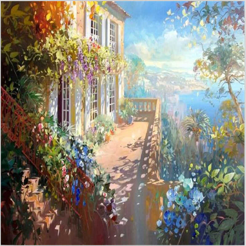 40*50cm Hand painted canvas oil paintings wall pictures for living room vintage home decor painting by numbers Sunny day M524