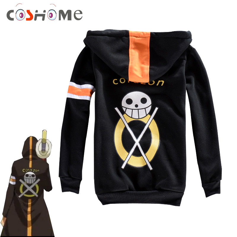 Coshome One Piece Trafalgar Law Hoodies Cosplay Jackets Costumes Coats Men Women Sweatshirts Black Tops Adult Spring Sportswears
