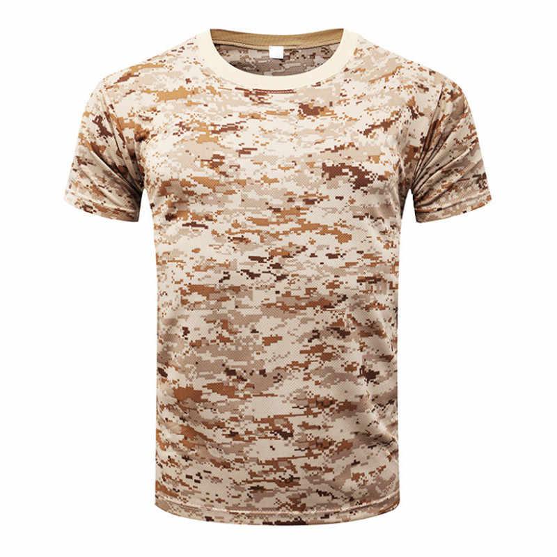 2018 camuflaje secado rápido transpirable camiseta medias ejército táctico camiseta de compresión para hombre Fitness verano Body bulding