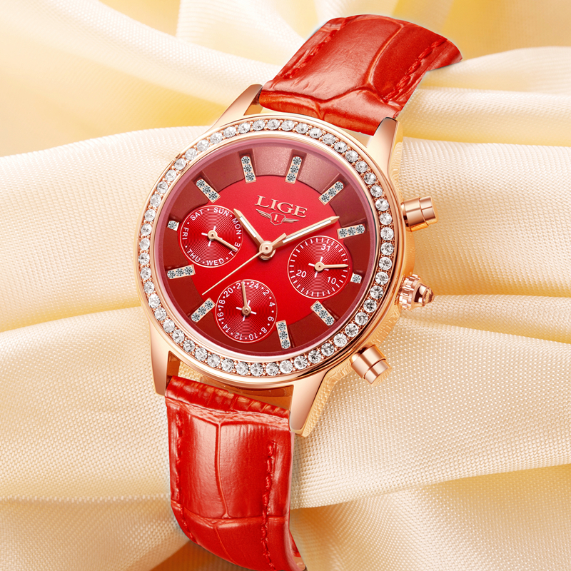 Relogio feminino Wanita Jam Tangan LIGE Merek Mewah Gadis Kuarsa - Jam tangan wanita - Foto 5