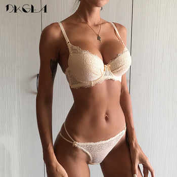 Super Gather Fashion Black Underwear Women Bra Set Push Up Brassiere Cotton Thick Deep V Sexy Bras Lace Lingerie Sets Embroidery - DISCOUNT ITEM  53% OFF All Category