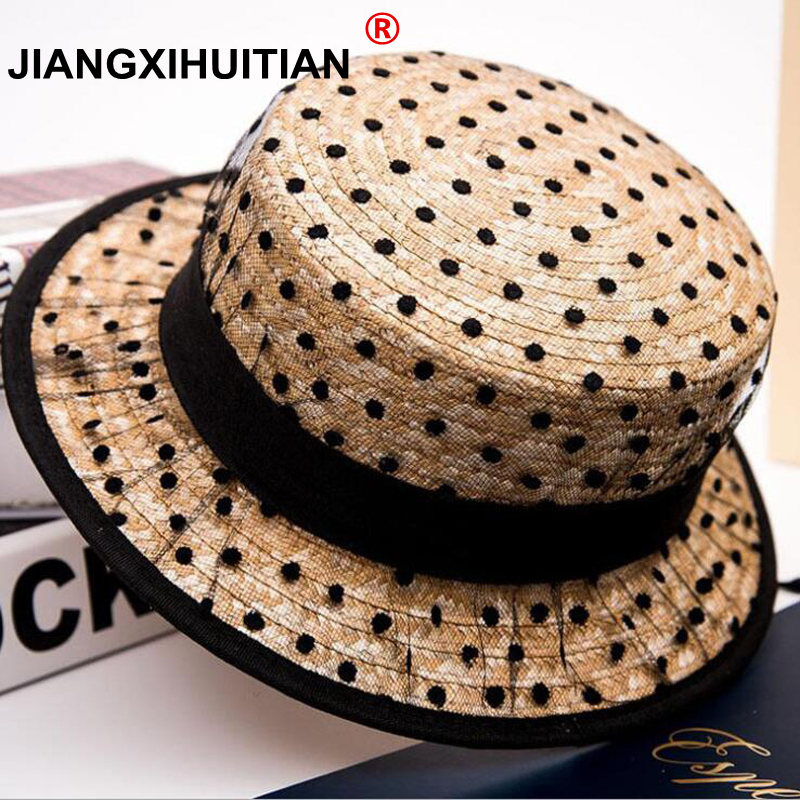2019 Hot Black Lace Sun Hats Bow Hand Made Women Straw Cap Beach Big Brim Hat Casual Girl Summer Cap 55-58cm