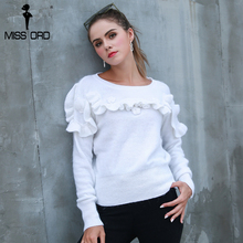 Missord осень 2017 г. и зима мода новый круглый Средства ухода за кожей шеи свитер цветок лотоса свитер FT8545