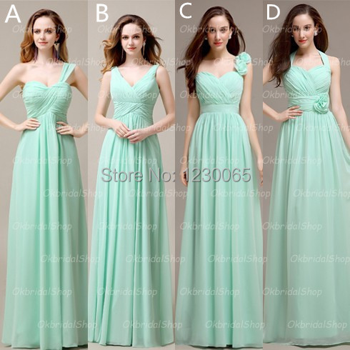 Vestidos Noiva Long Mint Chiffon Mismatched Bridesmaid Dresses Formal Custom Free Shipping 2016 Flowers New Gown In From