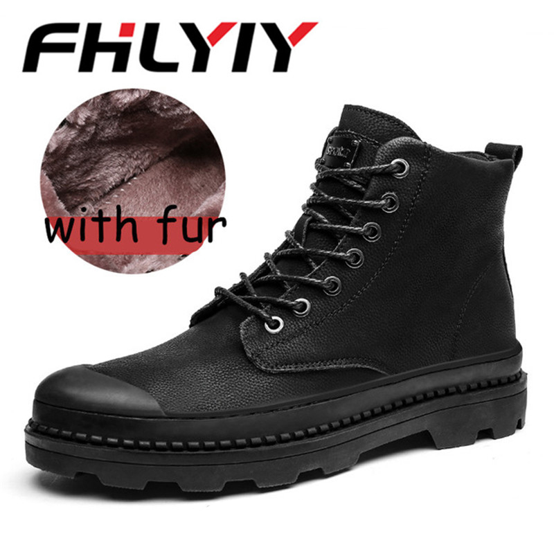 2018 Men Winter Shoes Warmest Genuine Leather Handmade Men Winter Snow Boots Ankle Thick Plush Warm Lace Up Causal Shoes Man roxdia men boots man shoes genuine leather autumn winter snow ankle lace up waterproof warm plush black plus size 39 50 rxm1004 page 7