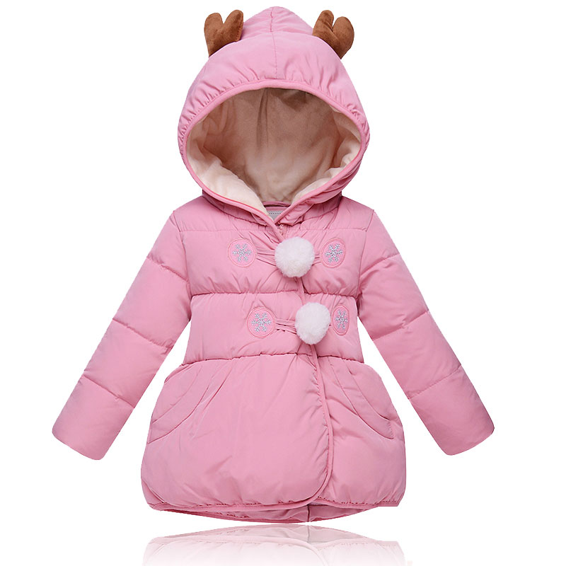Winter Jacket Child Girls Coat Parkas with  Solid Hooded Cotton Kids Warm Down Jackets Kids Wear Outerwear Clothes baby boys girls cotton padded clothes thick outerwear 2017 new winter kids hooded down parkas plaid casual jacket coat child top