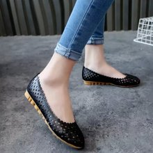 2017 Summer style Women Ballet Flats Round Toe Slip on Shoes Cut-outs Flats Shoes White Woman Loafers zapatos mujer s081