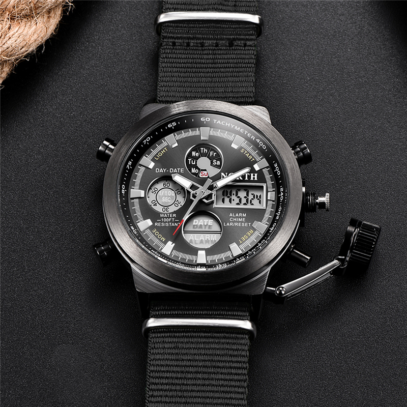 NORTH Sport Watch Men Military Quartz Watches For Men Analog LED Digital Leather Nylon Men Watches Casual Waterproof Wristwatch 4
