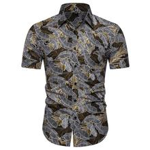 Flower Men Shirt Dress Short sleeve Floral Casual Blouse Hawaiian Mens Shirts Summer Slim New