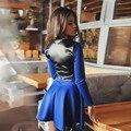 Новая Мода 2016 Женщин Платье С Длинным Рукавом Платье Осень Зима Женщины Повседневная Лоскутная Платье с ПУ-Линия платье