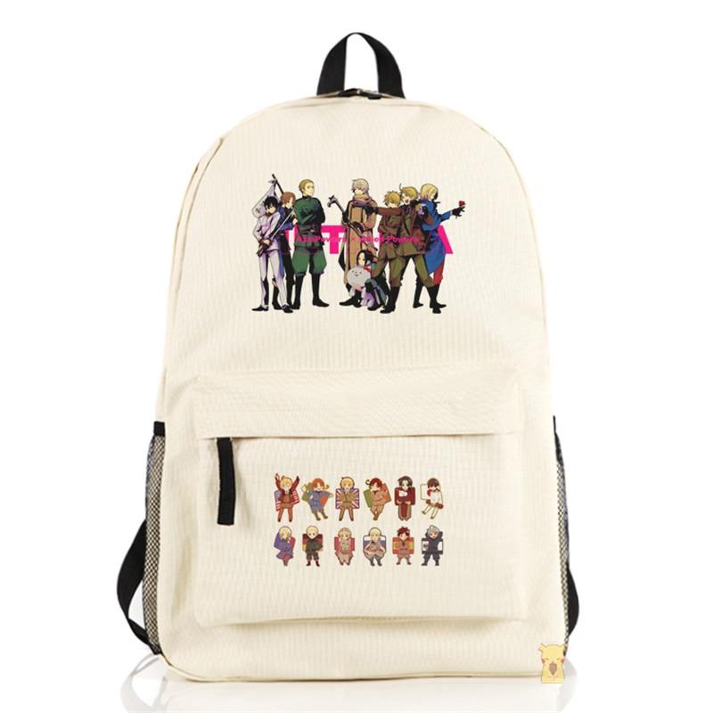Fashion Axis Powers Hetalia Cartoon Backpack Unisex Boys Girls Shoulders Bag APH Cosplay Student Schoolbag Free Shipping