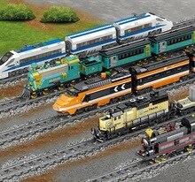 KAZI Technic аккумуляторные электрические классические legoing City Train High-speed Rail Building Blocks конструктор подарок игрушки для детей