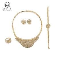 BAUS Wholesale Saudi Arabia Nigeria Bridal Jewelry Sets For Women Banquet Dress Accessories Fashion Necklace Gold