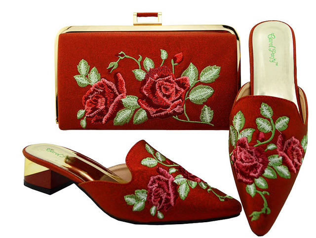 877afa45a93 US $63.4 26% OFF|Lovely high quality 3d flower embroidery 1.5 inches heel  slippers with matching clutches bag red shoes bag set SB8091 4-in Women's  ...