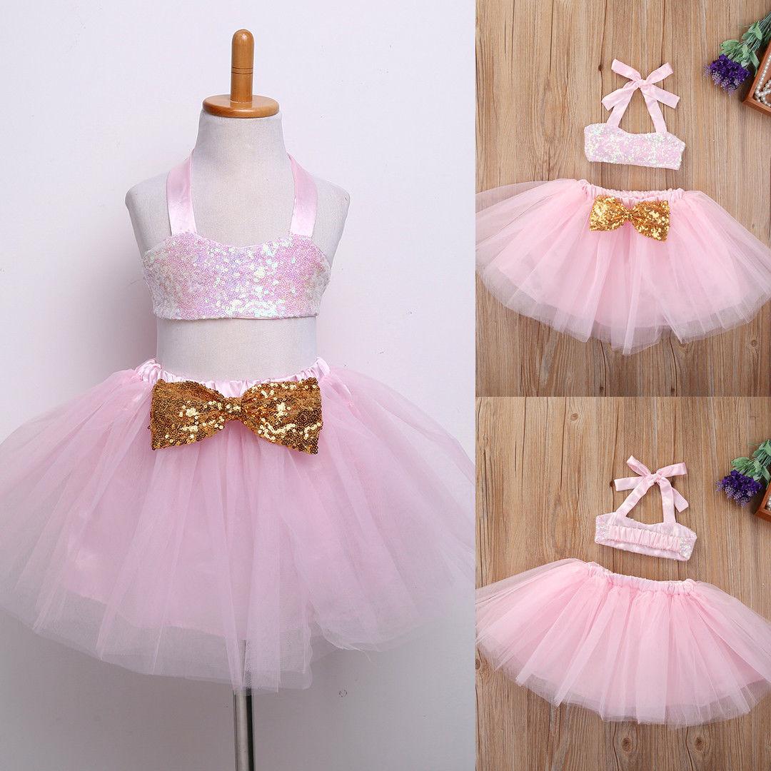 Симпатичные 2 предмета в комплекте детская одежда для девочек Блёстки без рукавов майка принцессы с бантом Кружево Свадебная вечеринка Нар...