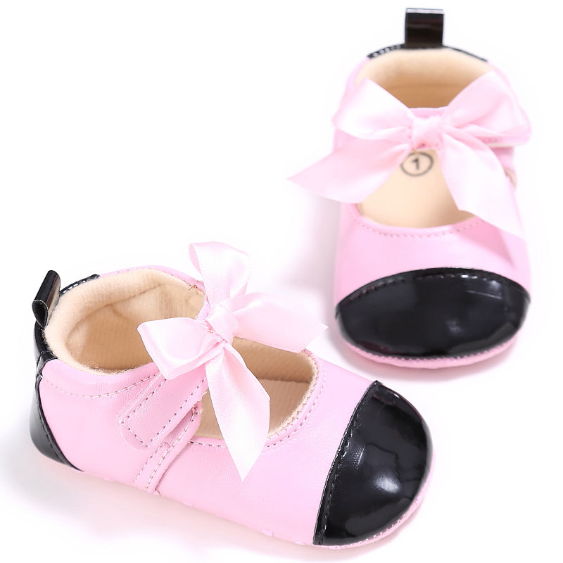 Baby Shoes 0-18 Months Infant Baby Girls Bowknot First Walker Princess Skid Resistance Shoes