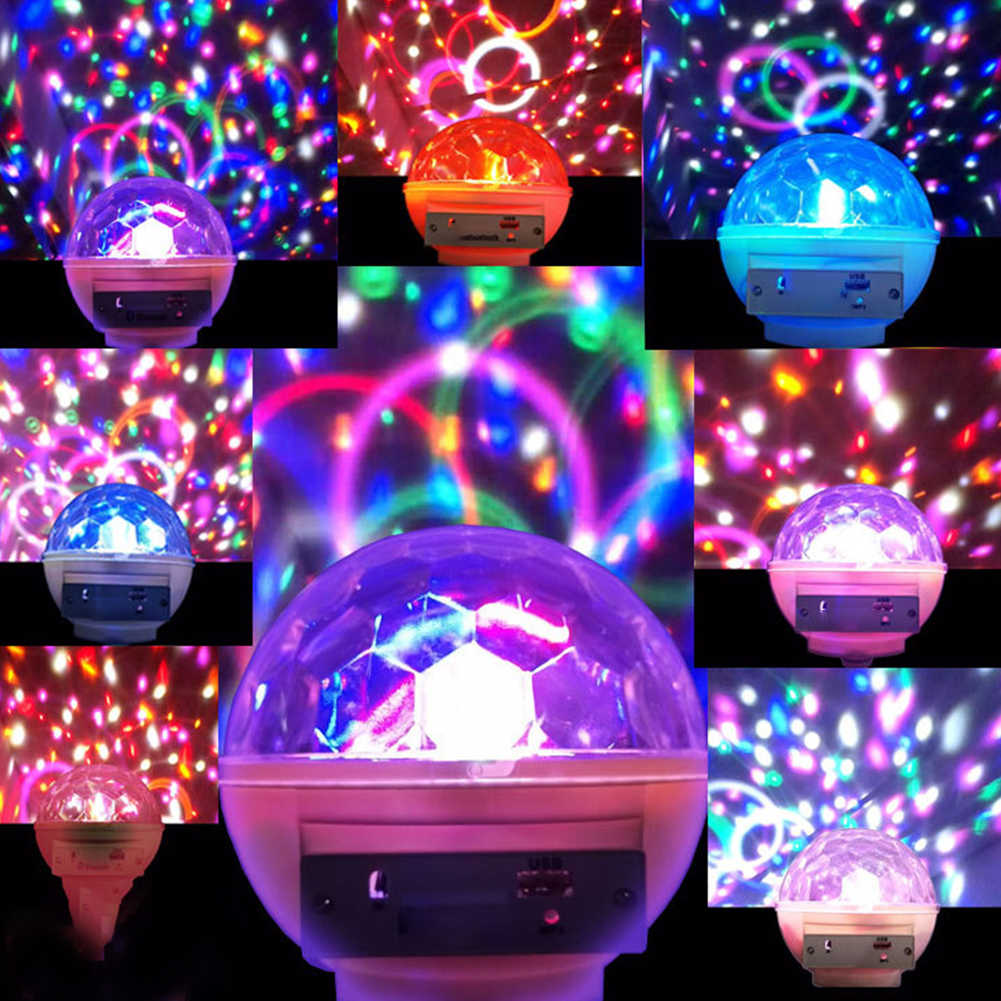 Спальня USB прожектор для сцены, дискотек атмосфера DJ дома Bluetooth кристалл магический шар вечерние маленькие E27 звук Управление RGB Вращающийся светодиод