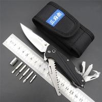 SRM7116 Outdoor EDC Pocket Knife With Multi Functional Tool Saw Belt Cutter Glass Breaker Screwdriver Bit