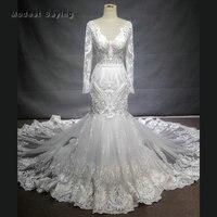 Высокое качество роскошные белые Русалка Одежда с длинным рукавом Кружево Свадебные платья 2018 Вышивка Свадебные платья Vestido De Noiva индивидуа
