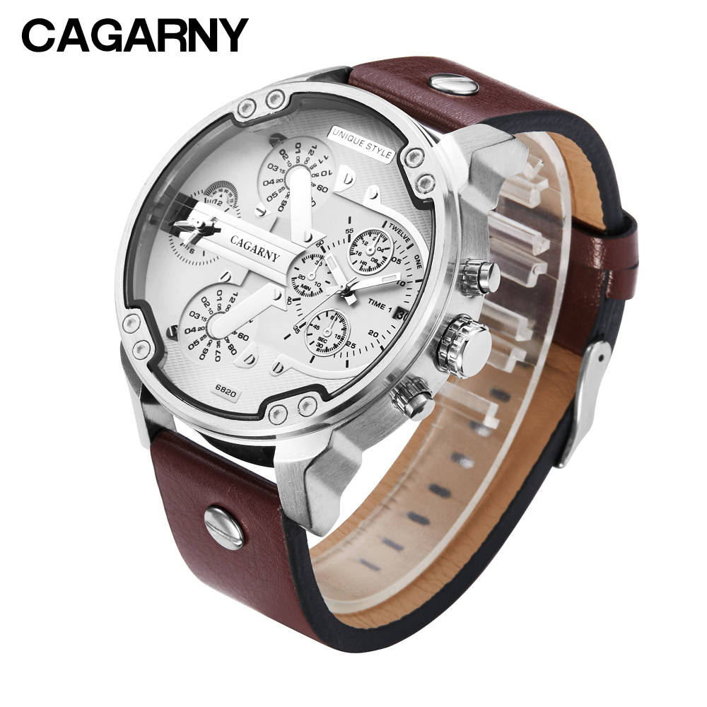 Fashion Mens Watch Leather Band Casual Analog Quartz Watches For Men Waterproof Dual Times Military Relojes Hombre 2019 Clock