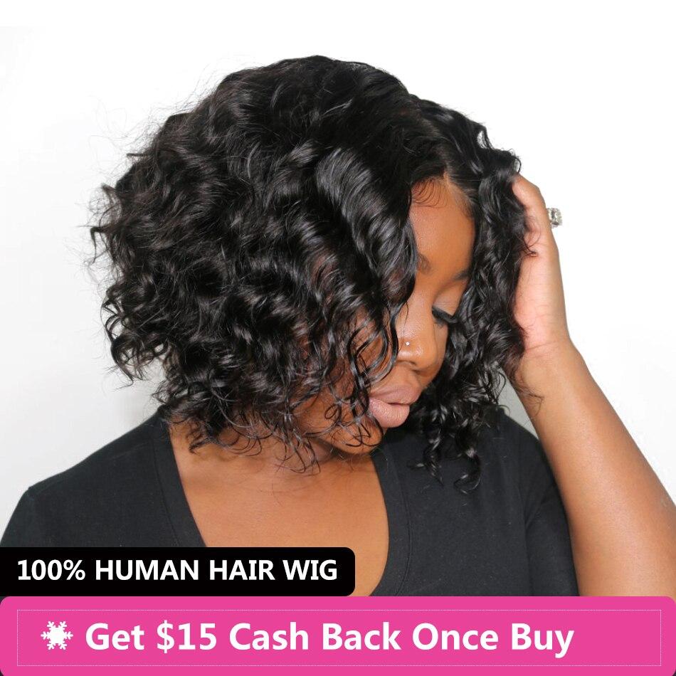 Дева 4x4 свободно закрытие волна парик бразильский Боб парик Синтетические волосы на кружеве короткие натуральные волосы парики для черный ...