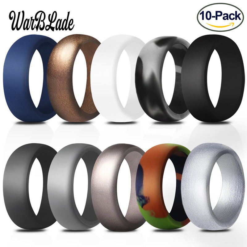 10pcs Food Grade FDA Silicone Rings For Men 8.7mm Hypoallergenic Flexible Sports Antibacterial Finger Rings Rubber Wedding Ring