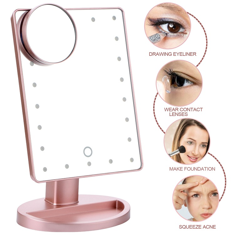 180 Rotating LED Touch Screen Makeup Mirror Professional Vanity Mirror 22 LED Light Health Beauty Adjustable Countertop все цены