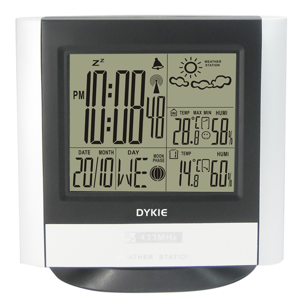DYKIE Large Size RCC Wireless Weather Station Digital LCD Indoor Outdoor Thermometer Hygrometer Temperature Humidity Alarm Clock цена и фото