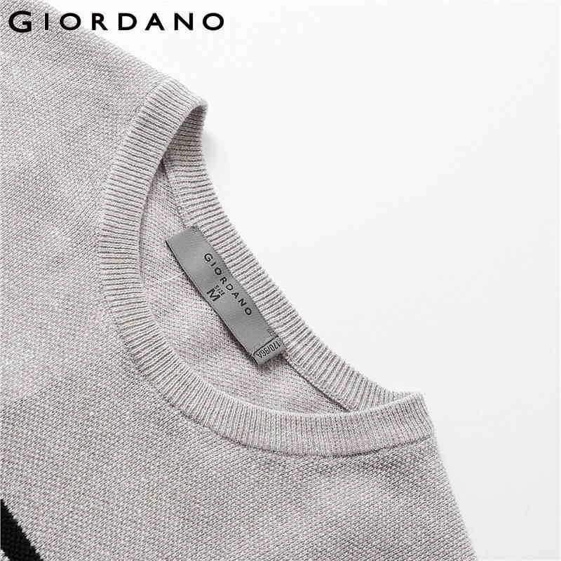 Giordano Men Tshirt ผ้าลินินธรรมชาติ - ผ้าฝ้ายความคมชัดสีถักเสื้อยืด Men O - Neck แฟชั่นสินค้าใหม่
