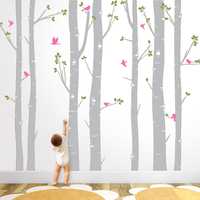 Hot Huge White Tree Wall Stickers Set of 7 Birch Trees with Birds in 3/2 colors Baby Nursery Wall Decals Living Room Decor ZA320