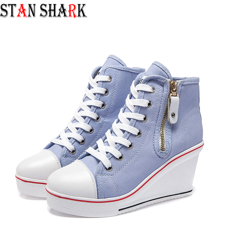 Womens Ladies Canvas Shoes High Tops