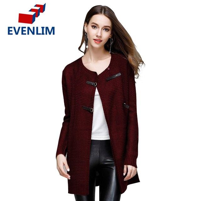 8020da61ee EVENLIM Autumn Knitted Sweater Cardigan Women Long Navy Cardigan Winter  Female turn down Collar Red Sweater Cardigan 2017 YH7127