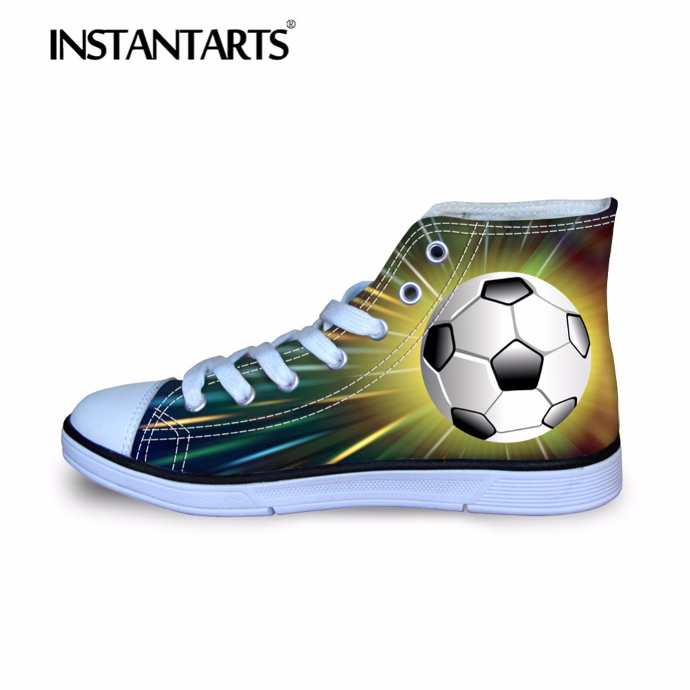 INSTANTARTS Comfort Children Outside High Top Canvas Shoes 3D Ball Basketballly Football Print Boys Girl Lace Up Sneakers Shoes eyelet lace botanical print top