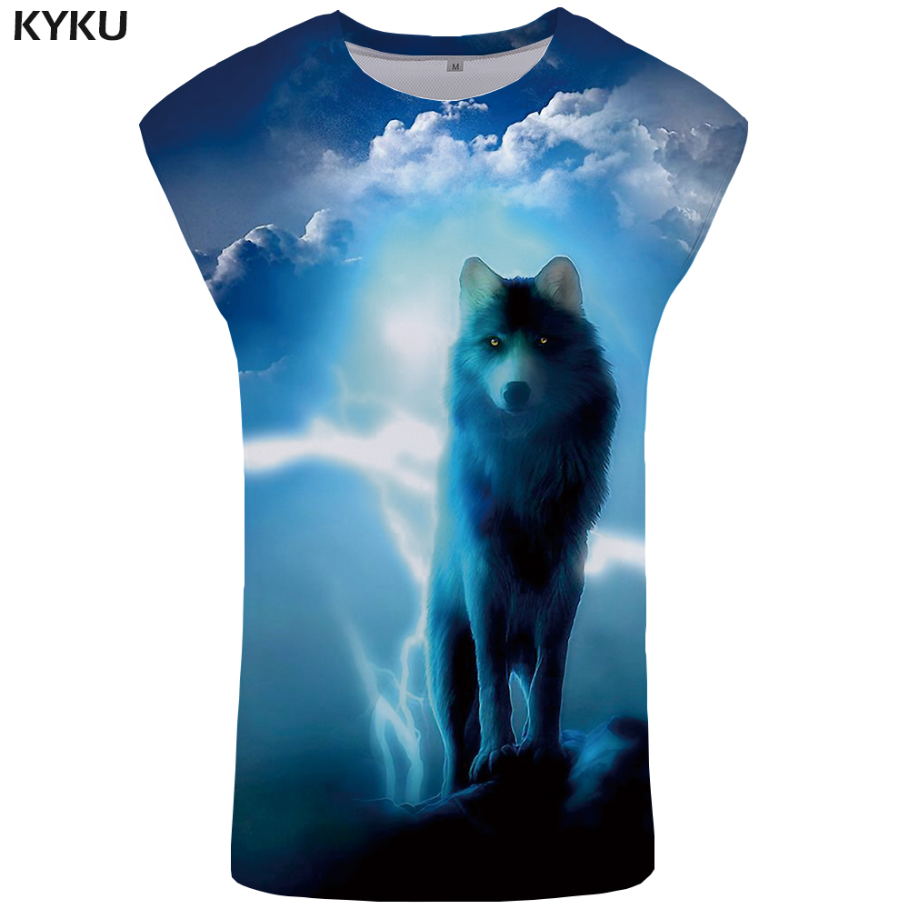KYKU Brand Wolf   Tank     Top   Men Cloud Mens Bodybuilding Lightning Stringer Blue Ftness Clothing Sky Undershirt Vest
