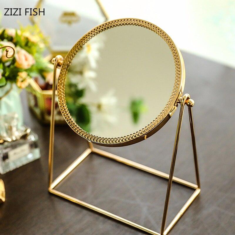 Espelho de maquiagem de mesa de cobre espelho de vidro dourado princesa espelho redondo com espelho cosmético portátil espejos decorativos