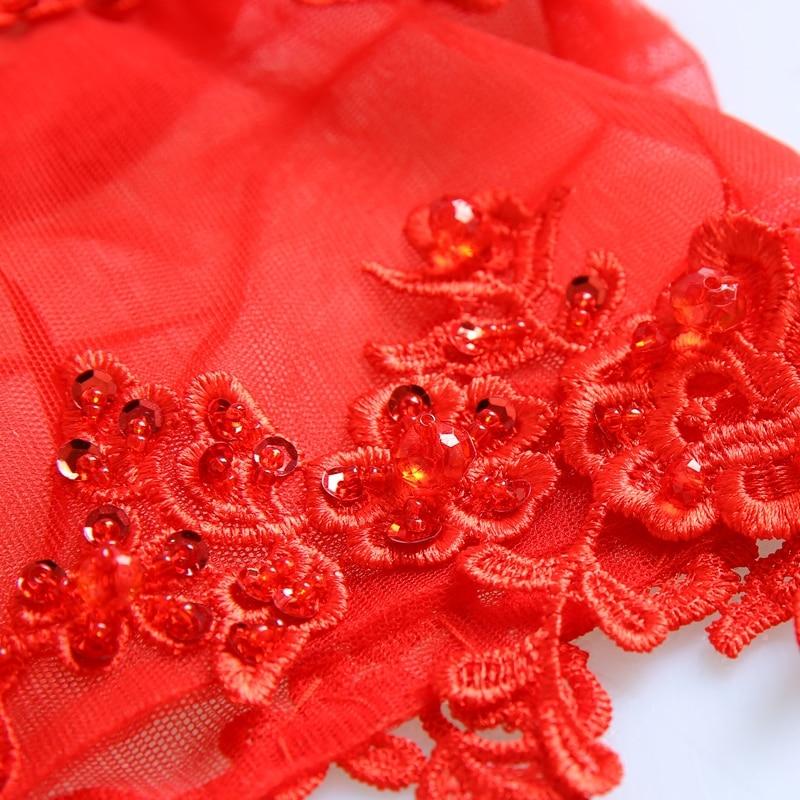 appliques de dentelle rouge satin sirène Trailing cheongsam de style - Vêtements nationaux - Photo 5