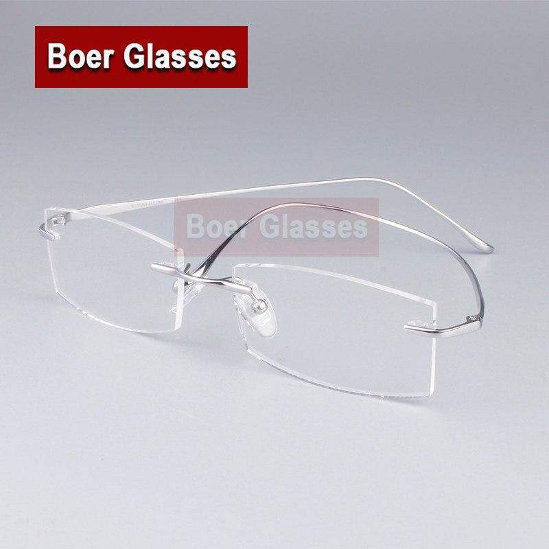 42075cb700 Brand Pure Titanium Eyeglasses Rimless Optical Frame Prescription Men  Spectacle Reading Myopia Eye Glasses 9069(