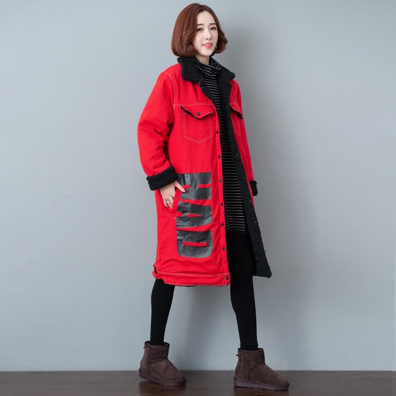 Chaud D'agneau Denim Parka Veste Laine red Impression Spliced La Taille Blue Coton Mode Femelle En De Plus Long D'hiver Ouatée Épaisse Femmes Manteau HIDWY29E