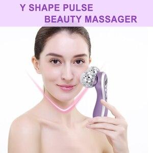 Image 2 - Micro Dòng Điện Rung Máy Massage 4D Con Lăn Máy Mát Xa Da Mặt Y Hình Xoay V Mặt Nâng Mặt Massage Da Se Khít Máy