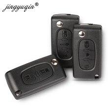 Jingyuqin 2/3 przycisk Flip Fob obudowa kluczyka do samochodu Shell dla Peugeot 207 307 308 407 607 807 Partner Citroen C2 C3 C4 C5 C6 Xsara