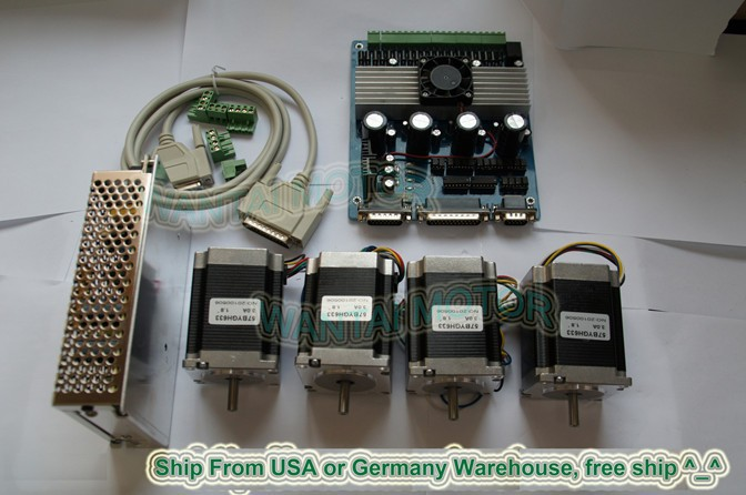 Hot Sell! Wantai 4 Axis Nema23 Stepper Motor 57BYGH420 185oz+4 Axis Driver Board CNC Plasma Engraver Kit  US CA UK FR IT DK Free  цена и фото