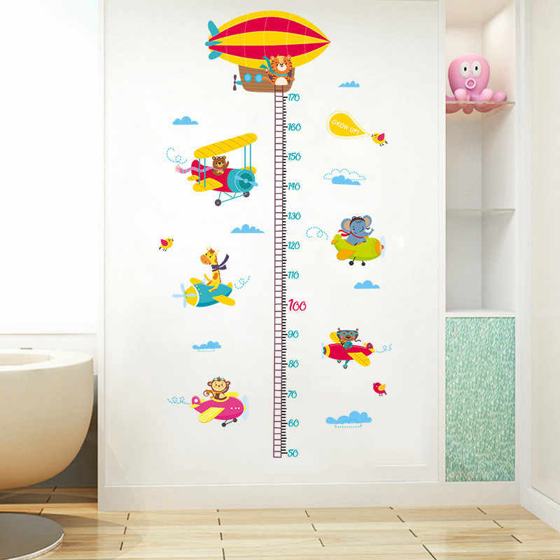 Cartoon Animal Drive Aircraft Height Measure Wall Sticker For Children Room Cartoon Mural Pvc Growth Chart Home Decals Poster