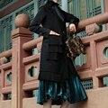 2017 Primavera Reciente Sin Mangas Plisado Spliced Chaleco de La Borla de Mujeres de la Capa de cuello de Solapa de color Negro diseño largo delgado chaqueta Chaleco femenino