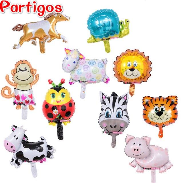 Mista 30 pcs Mini Vaca Abelha Joaninha Porco Animais Balões Folha Cabeça Hélio Crianças Globos de Ar Brinquedos festa de aniversário do tema decoração suprimentos