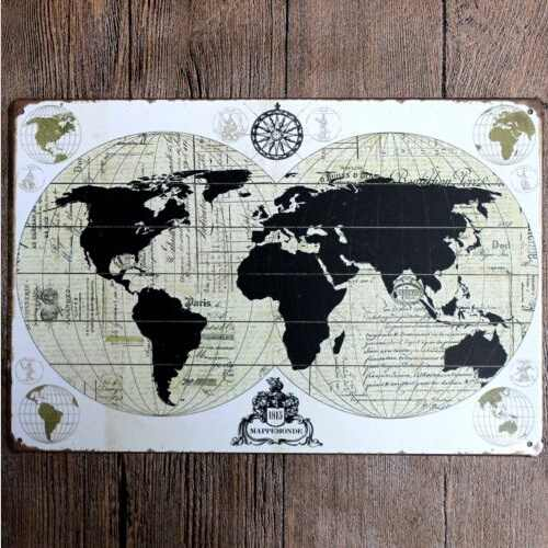 Metal Tin Sign World Map Decor Bar Pub Home Vintage Retro Poster Cafe Art 20x30CM