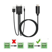 1pcs VGA HD-15 Male 15Pin To  HDMI Cable Adapter Converter 5FT 1.8M 1080P HD Splitter Switch For PC HDTV Monitor