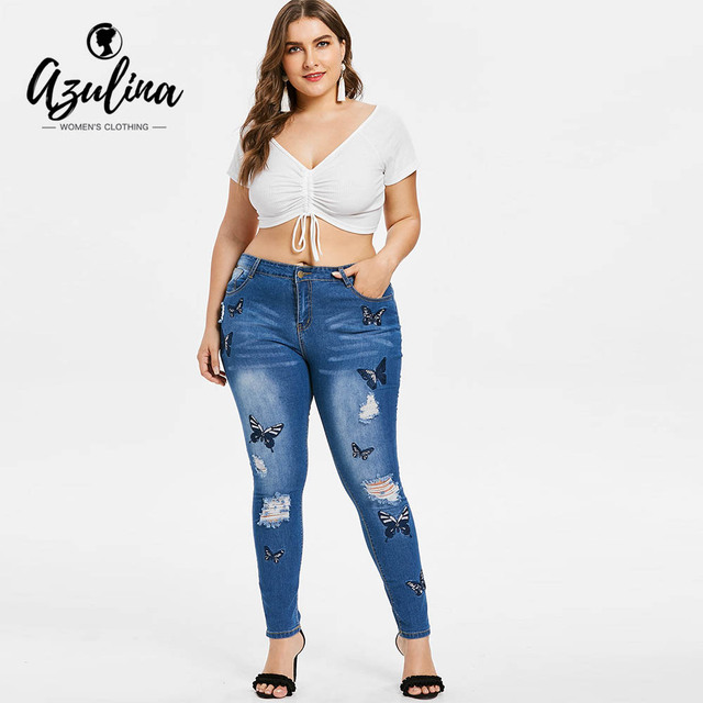 Rosegal Plus Size Butterfly Distressed Embroidered Jeans Women Pant Skinny High Waist Pencil Pants Denim Jean Ladies Trousers 5